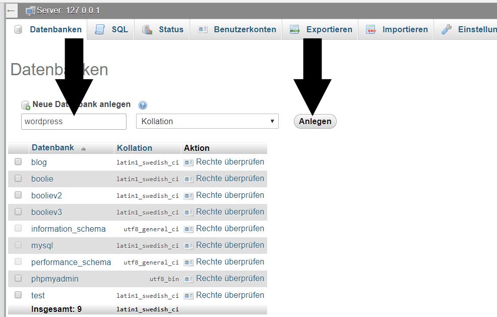 PHPMyAdmin Datenbank anlagen