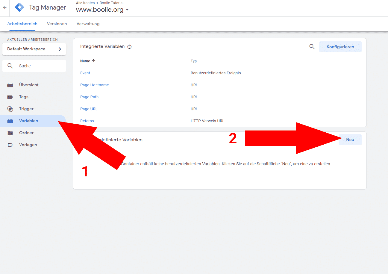 Google Tag Manager Variable anlegen