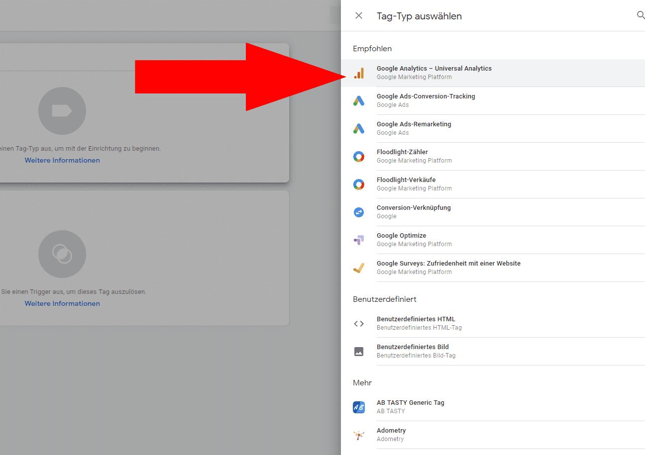 Google Analytics Tag auswählen
