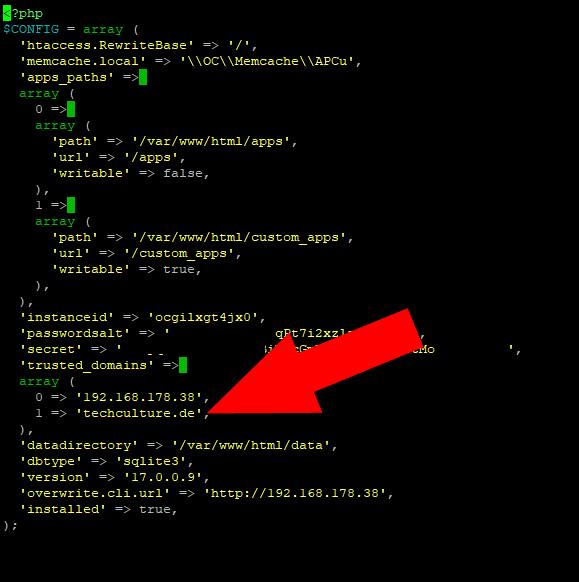 domain access in der config Datei eintragen