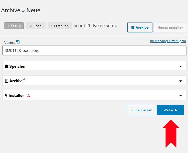 duplicator archiv erstellen name