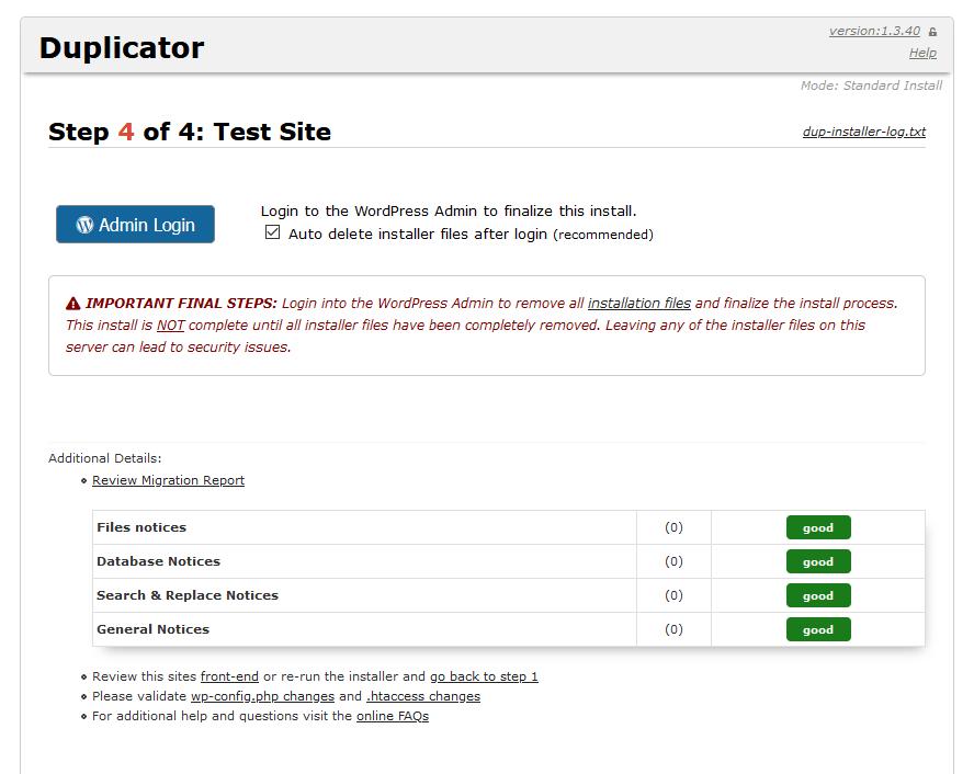 duplicator backup install done