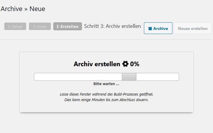 duplicator backup wird erstellt