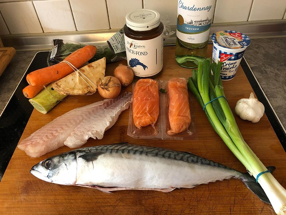 zutaten vom Fischragout Rezept