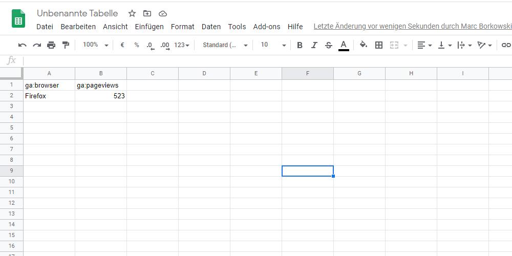 google sheets beispiel